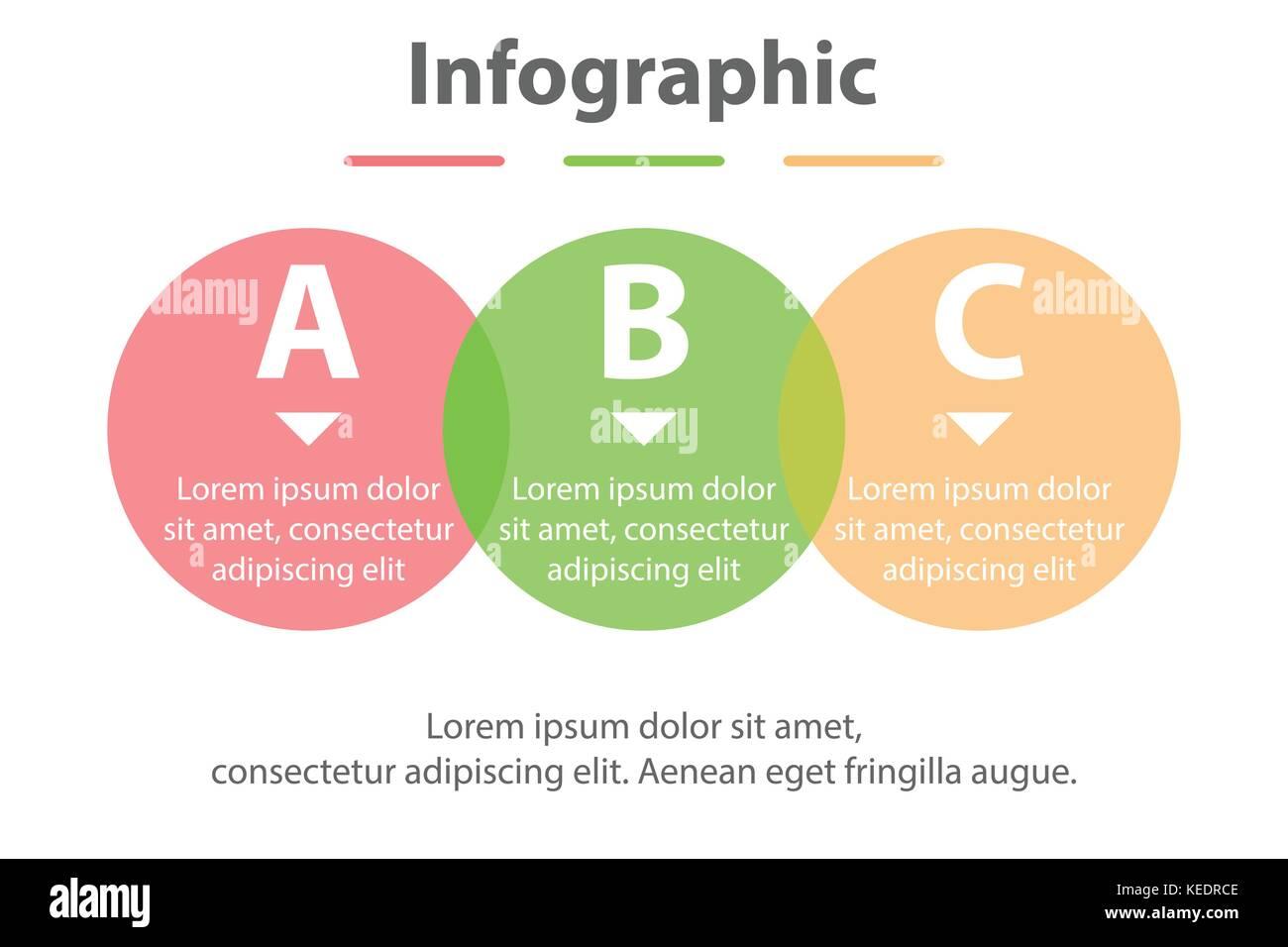 Drei Themen einfache Bunte durchsichtige Kreis in der Reihenfolge ...