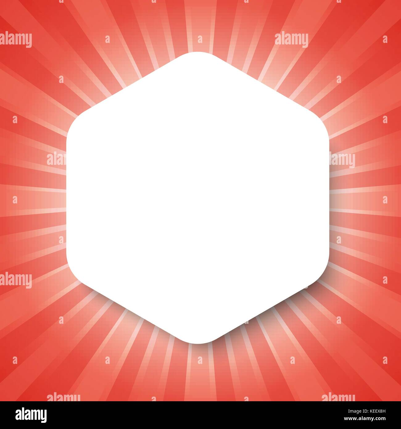 Fantastisch Weiß Hexagon Vorlage Auf Rot Abstrakt Hintergrund Mit Start Burst Konzept