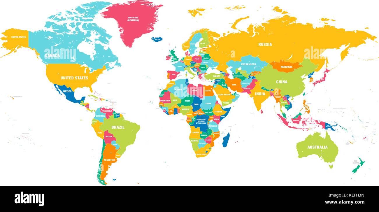 weltkarte mit namen Bunte hi detaillierte Vektor Weltkarte mit allen Ländern Namen  weltkarte mit namen
