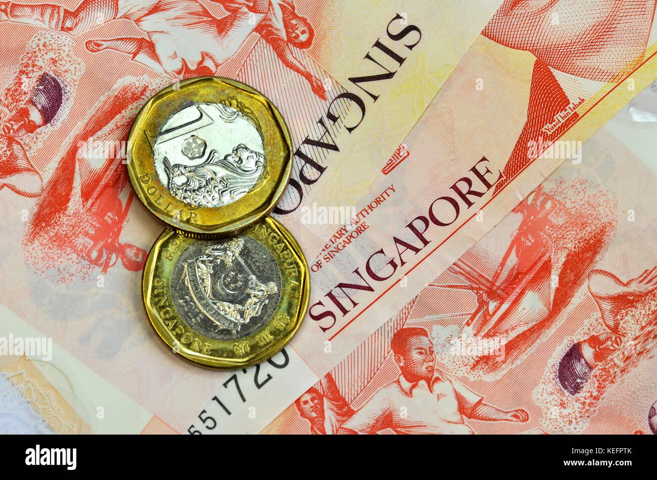 Singapur Geld Auf Weißem Hintergrund Ein Dollar Münzen Und Zehn