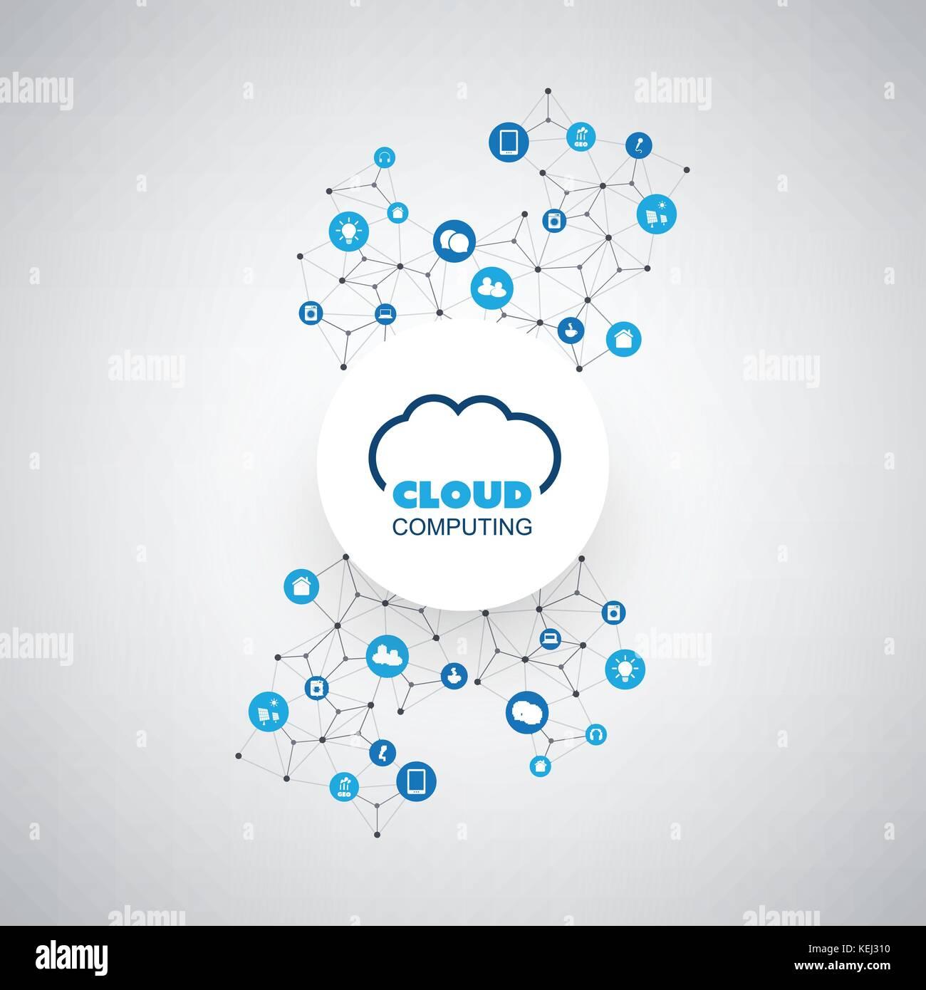Cloud Computing Konzept mit Symbolen - digital Netzwerkverbindungen ...