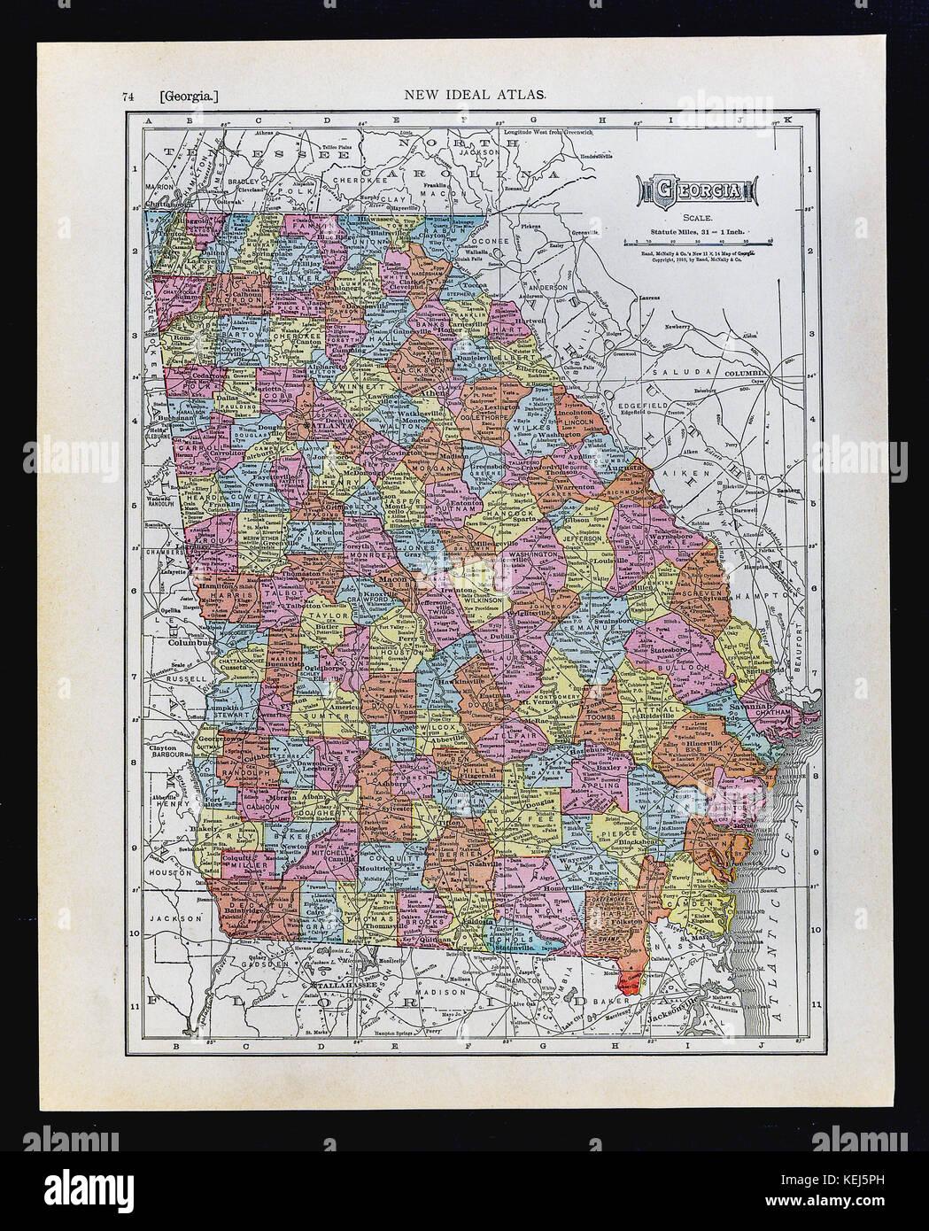 1911 Mcnally Karte Georgia Atlanta Athen Columbus Augustus