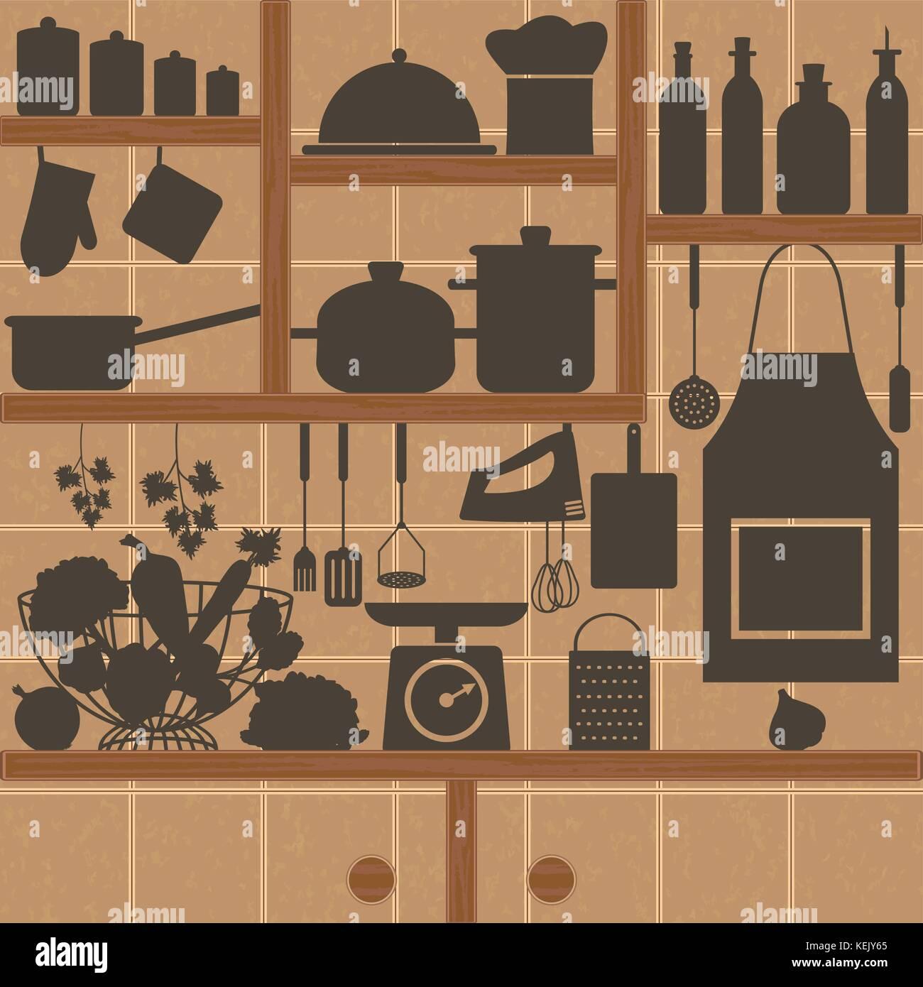 Restaurant Und Küche Silhouette Symbole Auf Fliesen Wand Vektor - Fliesen für restaurant küche