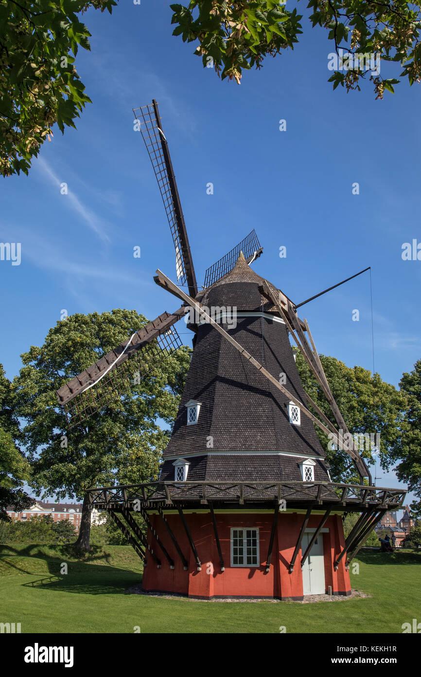 Die Windmühle auf dem Könige Bastion in der kastellet in der Stadt Kopenhagen, Dänemark im Jahr 1847 Stockbild