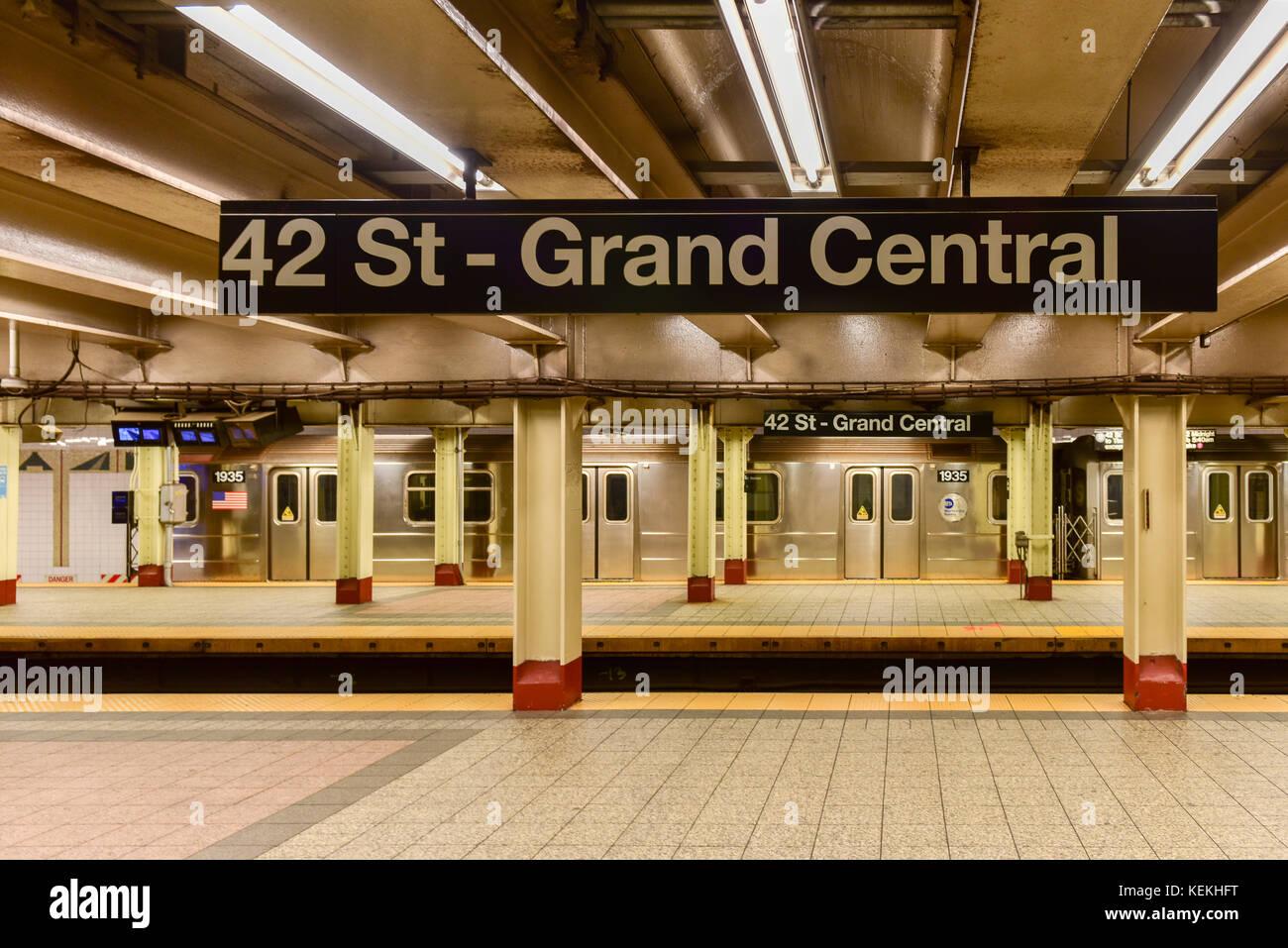 New York City - Oktober 14, 2017: 42 st-Grand Central U-Bahn Station in New York City. Stockbild