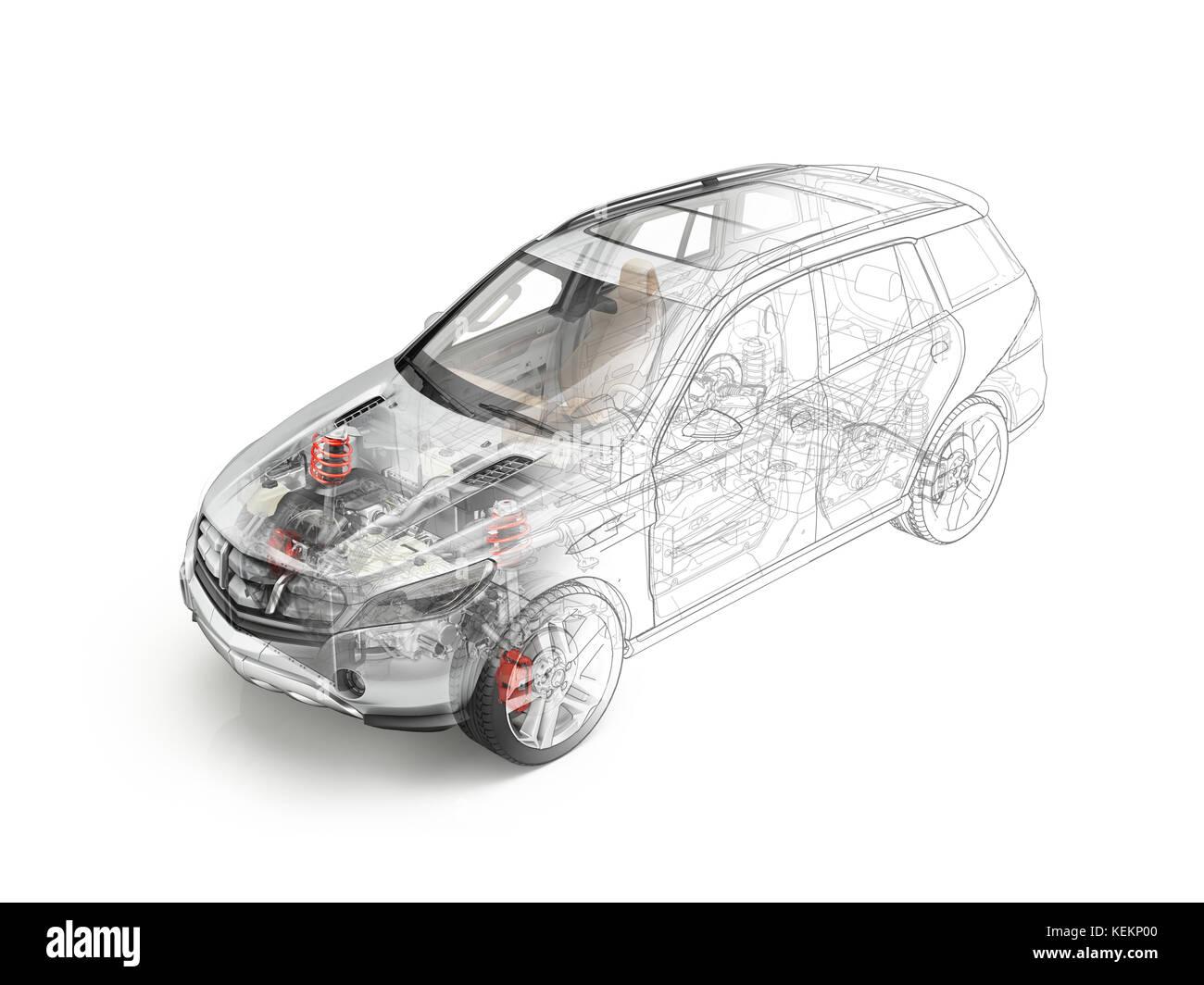Suv-Fahrzeug technische Cutaway, Querschnitt Stockfoto, Bild ...