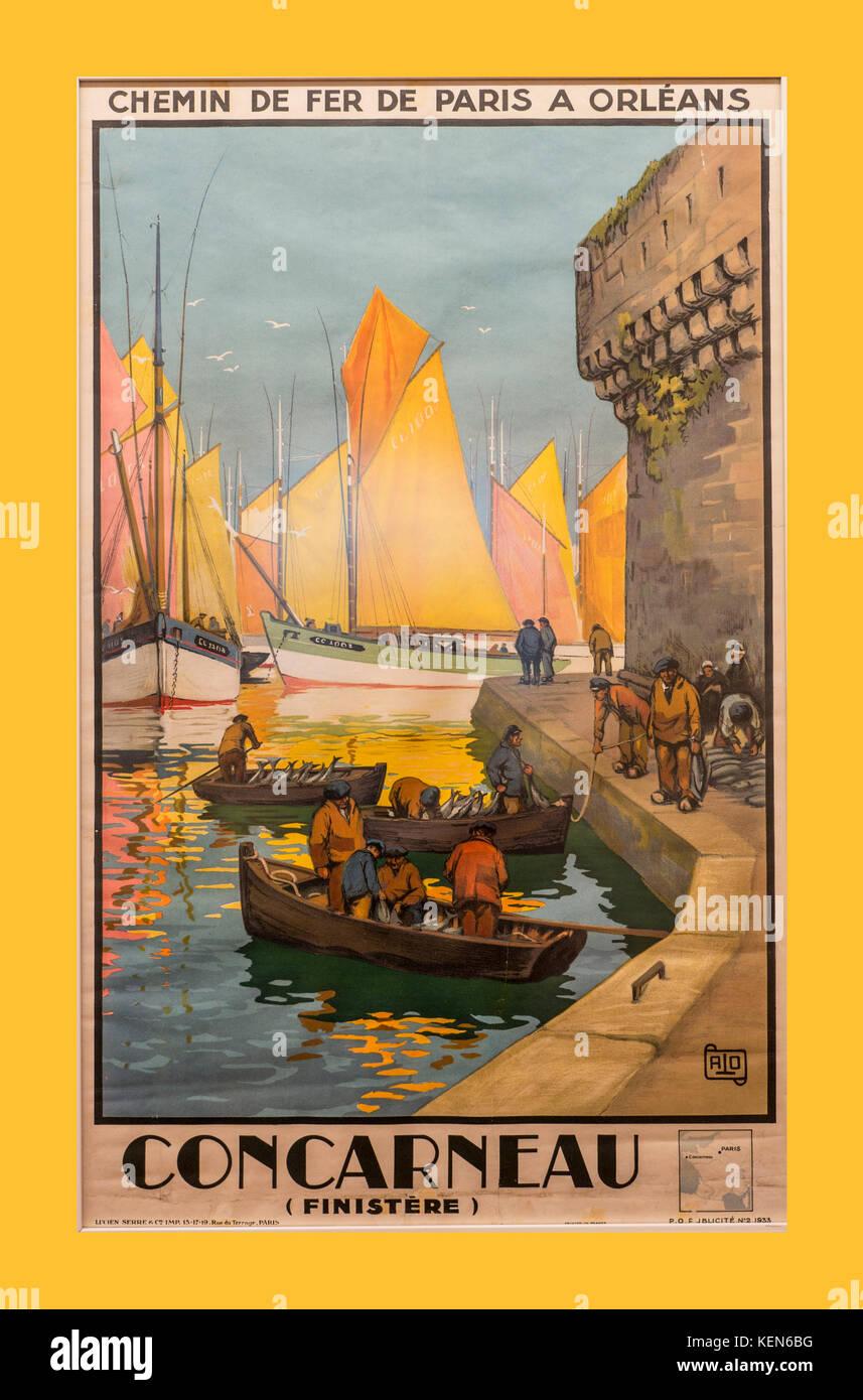 Vintage Retro Rail 1900 Chemin de Fer travel Poster für Concarneau über Orleans bretagne finistere Frankreich Stockbild