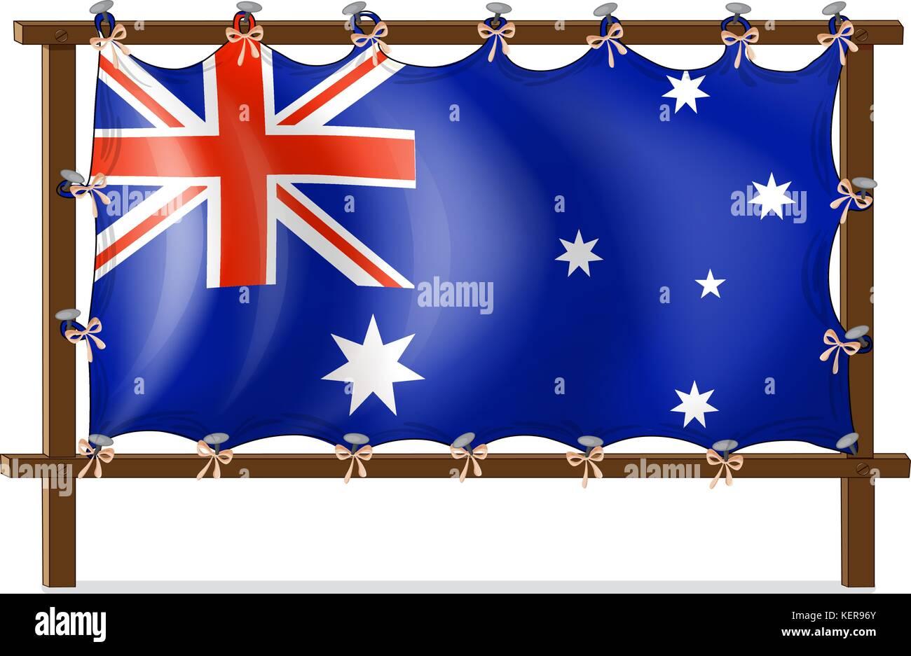 Abbildung: die Flagge von Australien zu den hölzernen Rahmen, auf ...