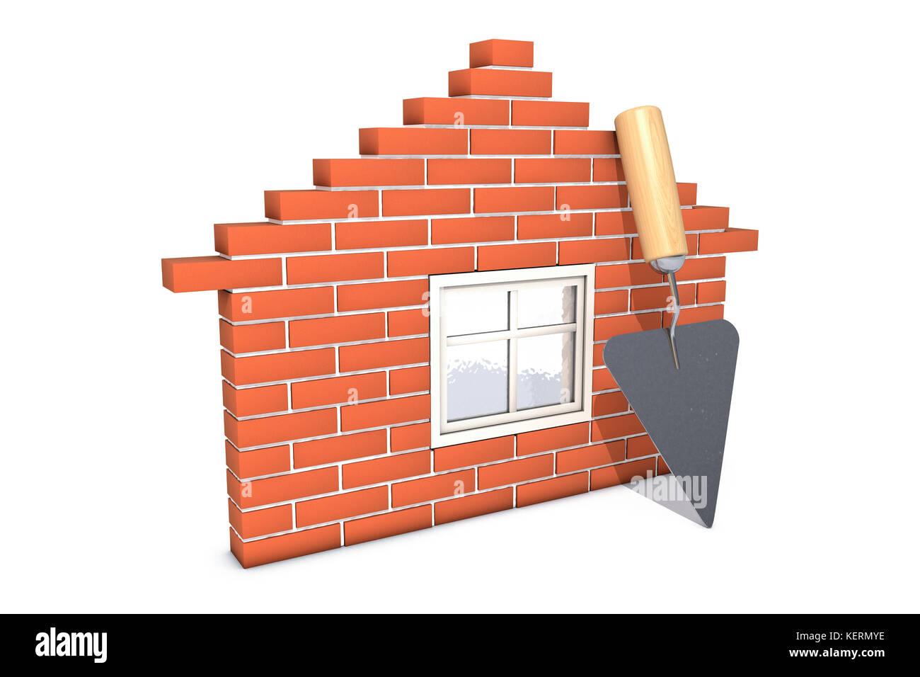 construction concept brick wall trowel stockfotos construction concept brick wall trowel. Black Bedroom Furniture Sets. Home Design Ideas