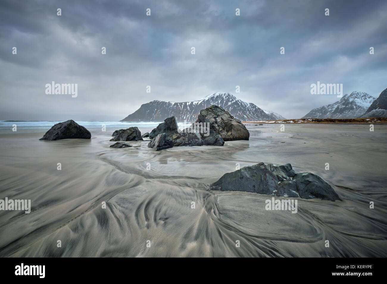 Strand von Fjord in Norwegen Stockfoto