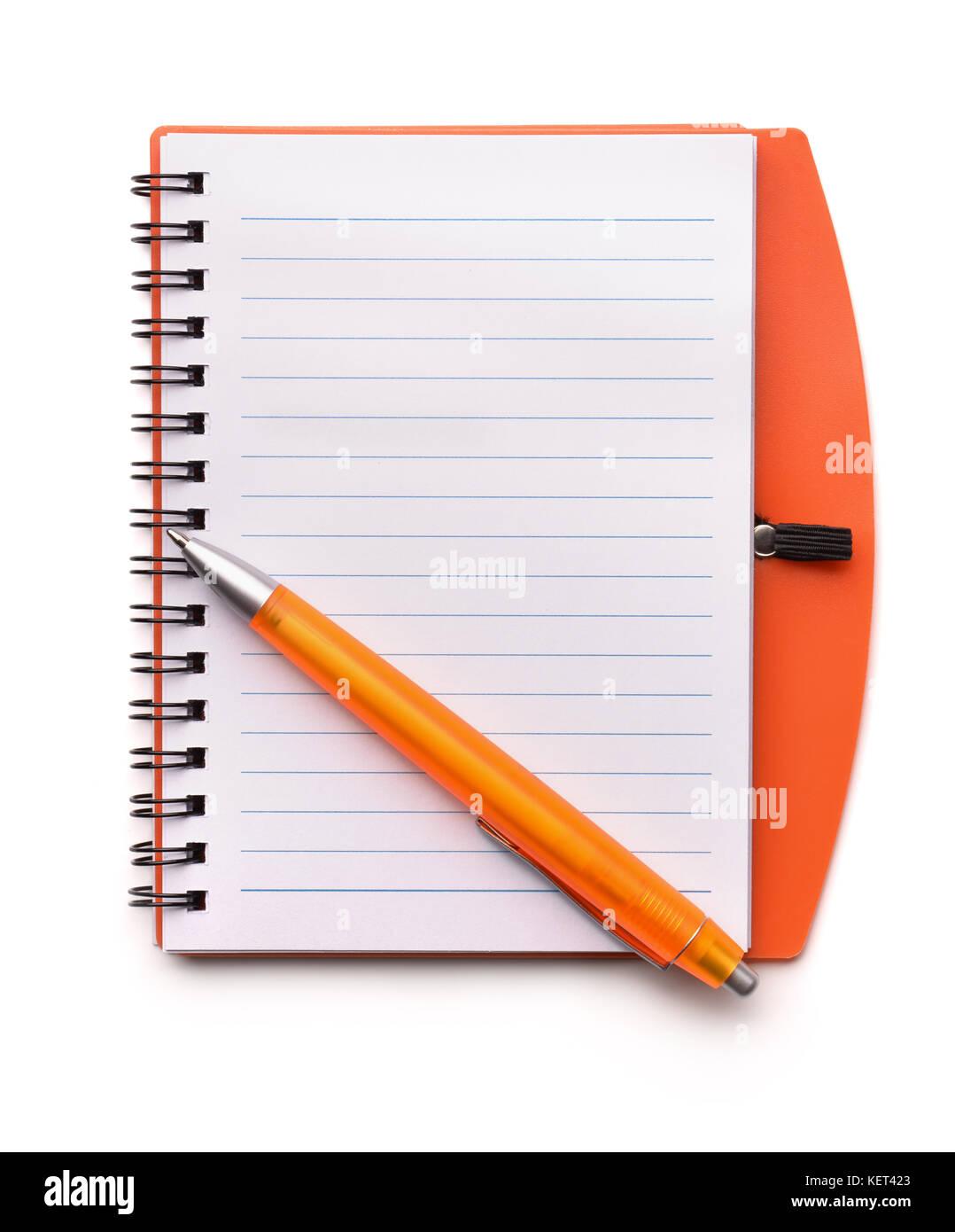 Ansicht von oben öffnen leer Notebook und Pen isoliert auf weißem Stockbild