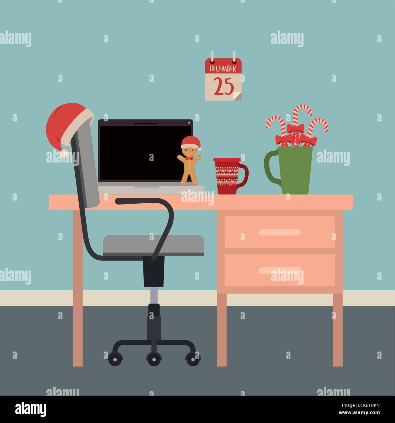 Weihnachten einfach Büro Arbeitsplatz Szene mit Weihnachten ...