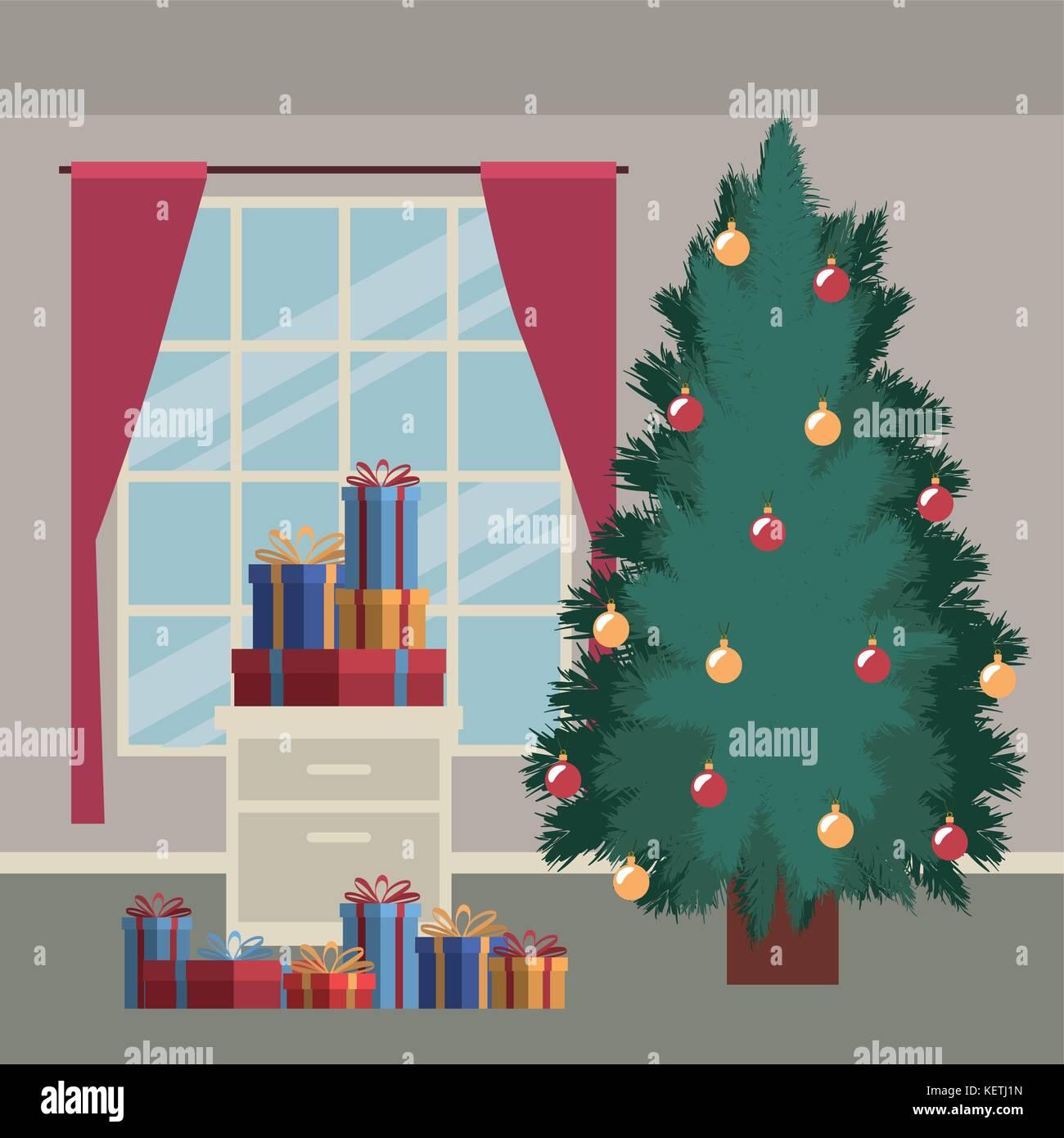 Weihnachten home Szene mit Fenster Hintergrund und grossen ...