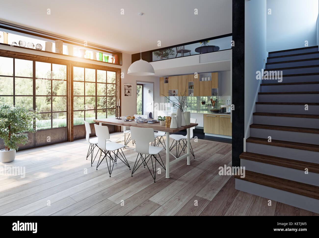 Moderne Küche Interieur. 3D-rendering Konzept Stockfoto, Bild ...