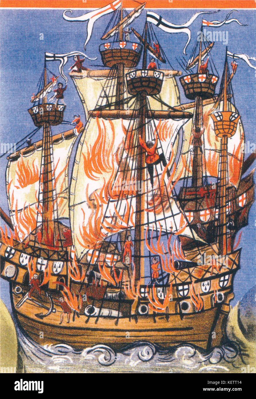 Eine zeitgenössische Abbildung: Germain de Brie Gedicht chordigerae Navis conflagratio Darstellung der cordelière Stockbild