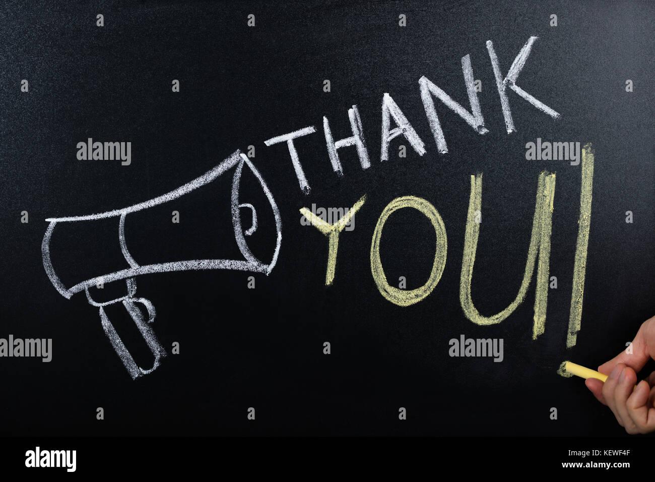 Close-up Danke Konzept auf der Tafel Stockbild