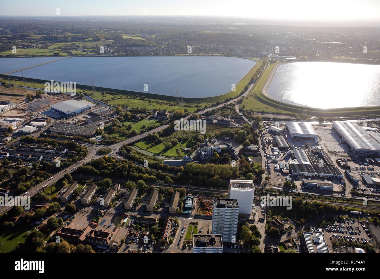Eine Luftaufnahme der King George Reservoir in der Lea Valley, East London Stockbild