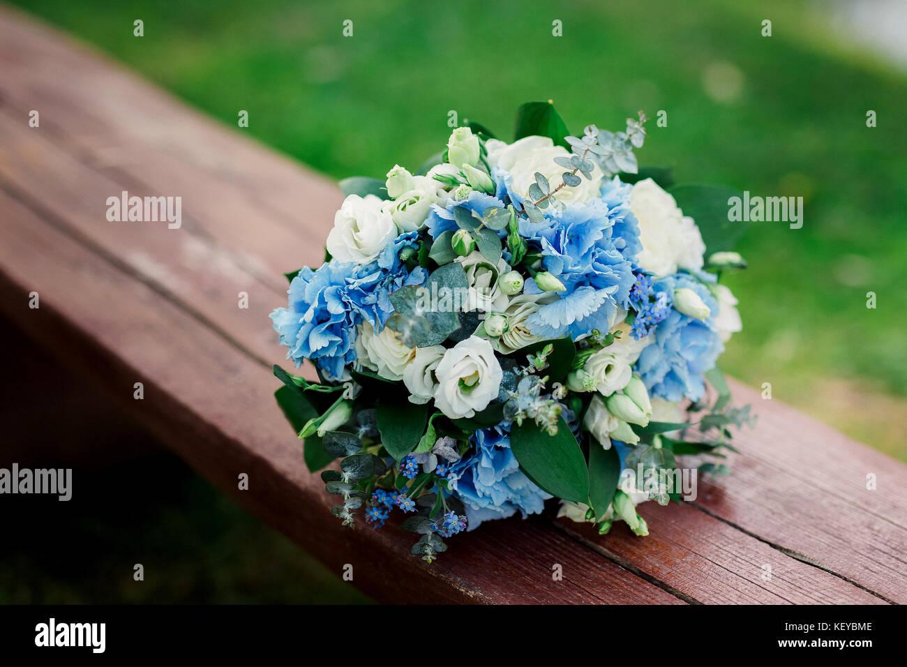Schone Blaue Und Weisse Frische Blumen Hochzeit Bouquet Hochzeit
