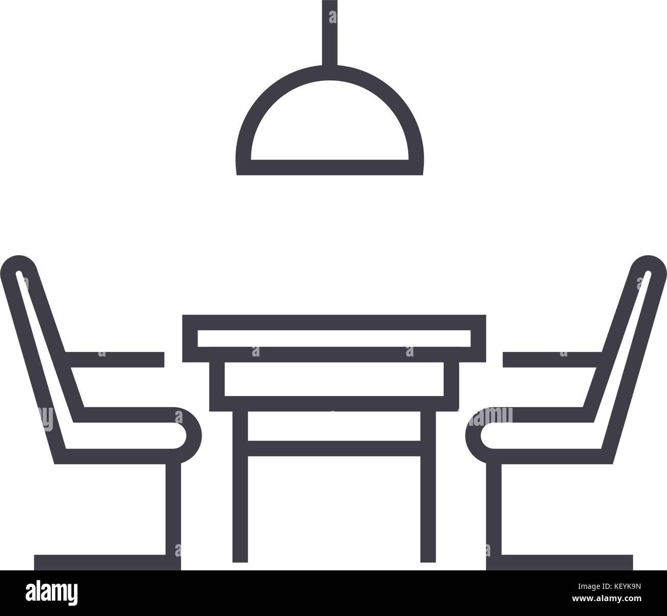 Küchentisch mit Stühlen lineare Symbol, Zeichen, Symbol, Vektor auf ...