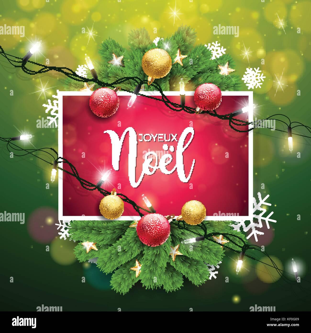 Weihnachtsgrüße In Französisch.Vektor Weihnachten Abbildung Mit Französisch Joyeux Noel Typographie