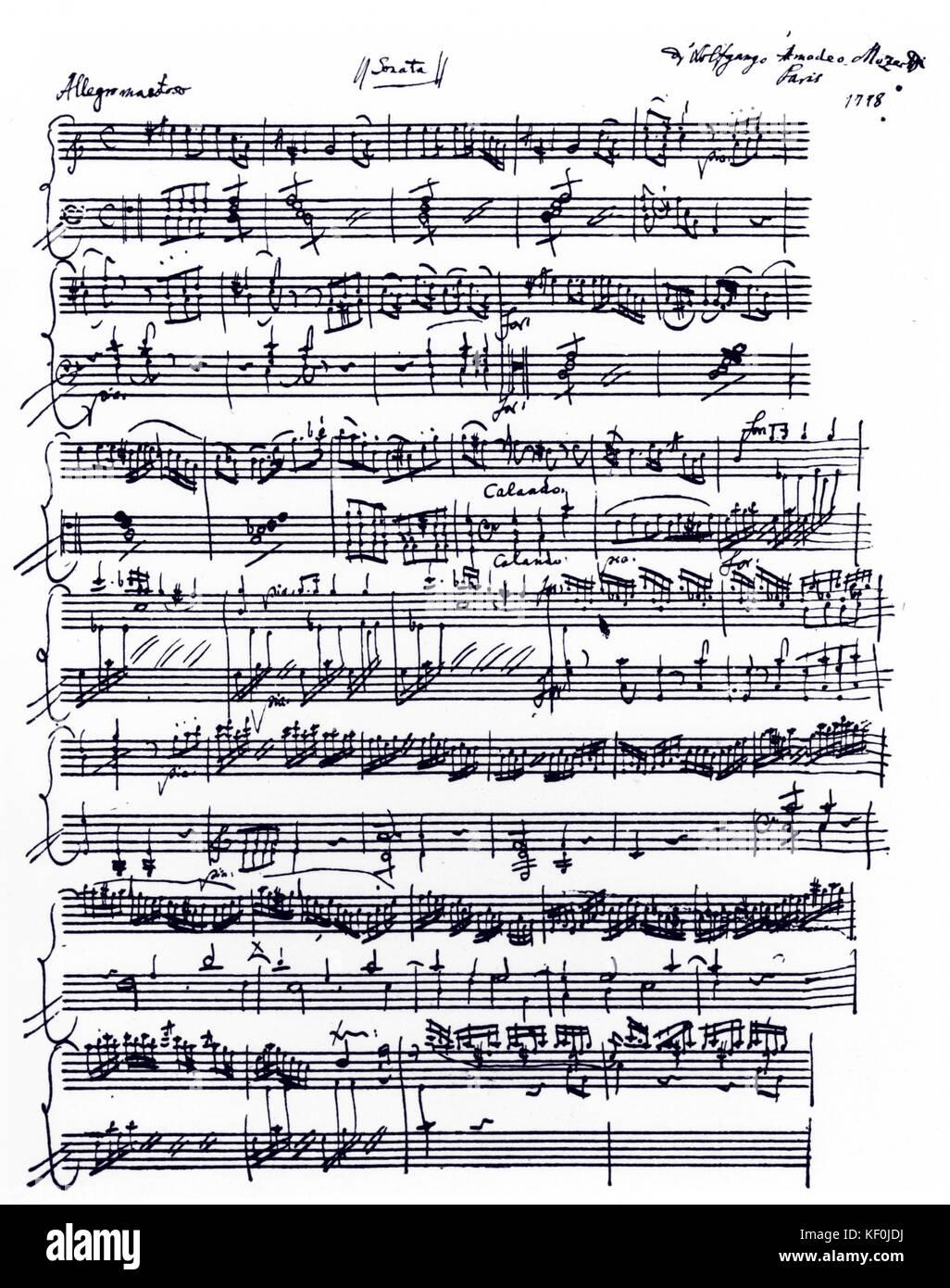 Wolfgang Amadeus Mozart - Piano Sonate in A-Moll, KV 310 autographe  Partitur, Paris, 1778. Eröffnung der ersten Bewegung. Österreichischen  Komponisten, 27. Januar 1756 - vom 5. Dezember 1791 Stockfotografie - Alamy