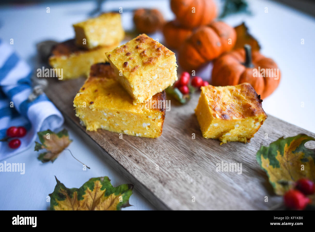 Hüttenkäse und Kürbis Pudding Stockbild