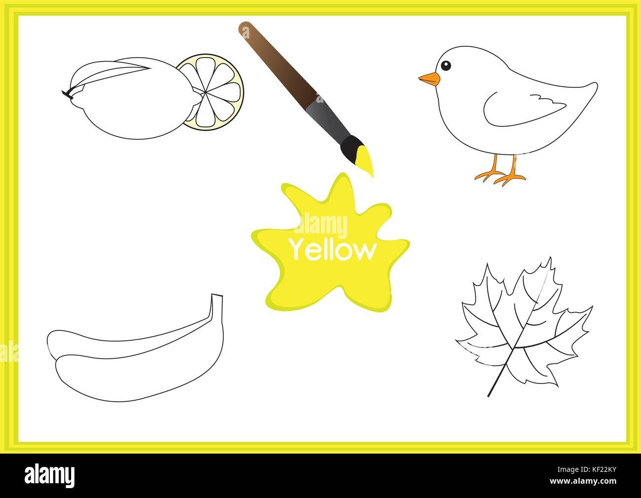 Die Farben lernen, Kinder lernen die Farben, Arbeitsblatt Vektor ...