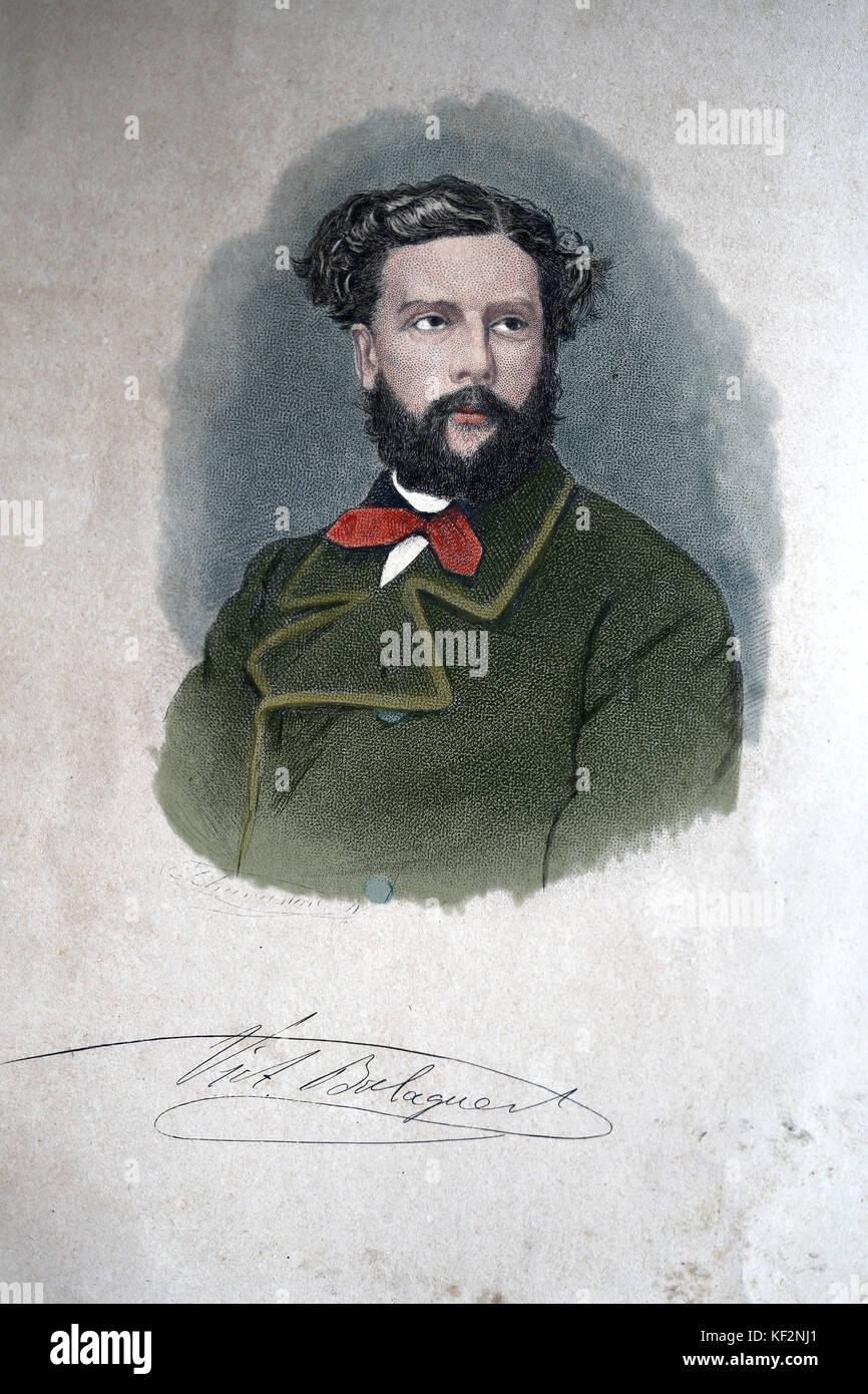 Victor Balaguer (1824-1901). katalanischer Politiker und Autor. Portrait.gravur 1863, Geschichte Kataloniens und Stockbild