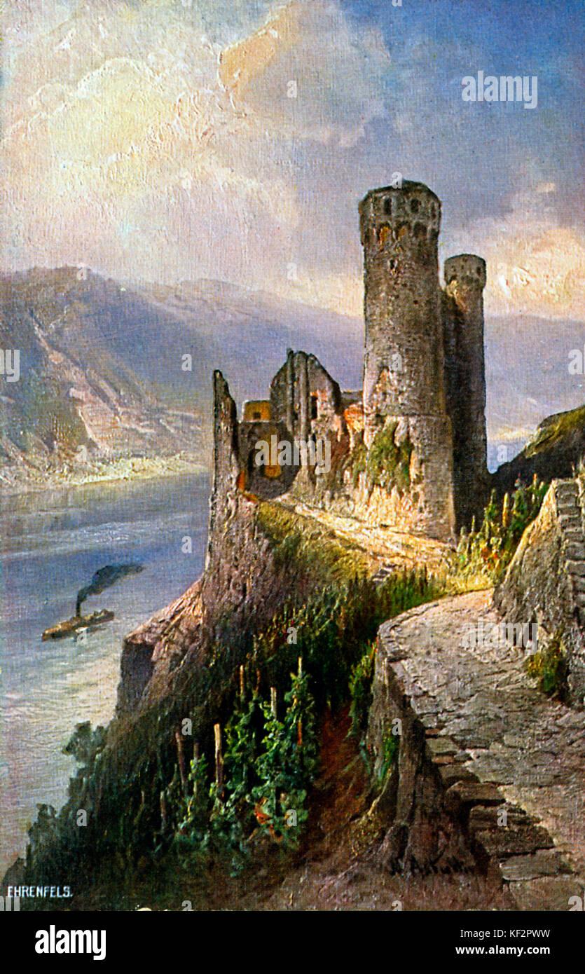 Ruinen der Burg Ehrenfels, rheinland-pfalz, Deutschland. Von der Malerei der Burg Ehrenfels, die oberhalb des Binger Stockbild