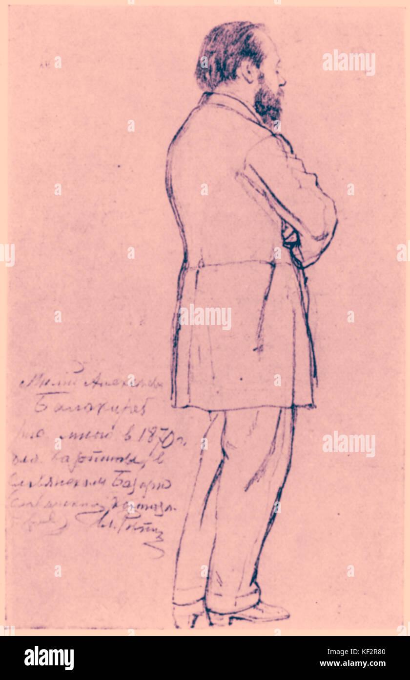 Mily Alexeyevich Balakirev - Maßzeichnung des russischen Komponisten von Ilja Repin, 1870. Alekseevic Milij Balakirev, Stockfoto