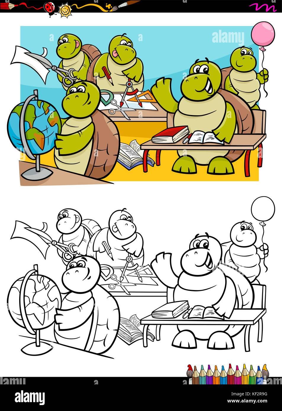 Cartoon Illustration von Schildkröten Tier Zeichen im Klassenzimmer ...