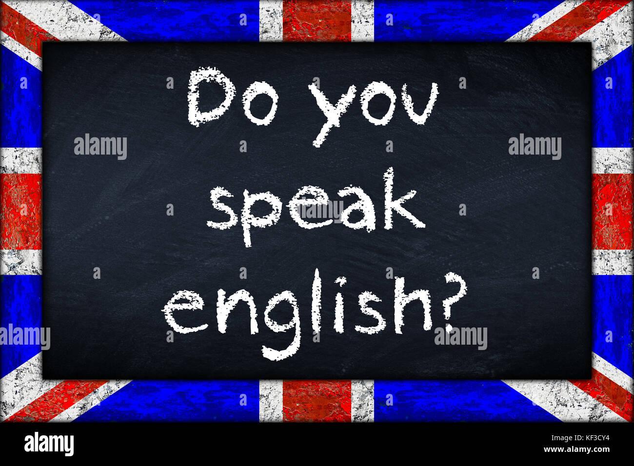 Sie englisch Sprache Bildung Konzept auf der Tafel Tafel mit Holz ...