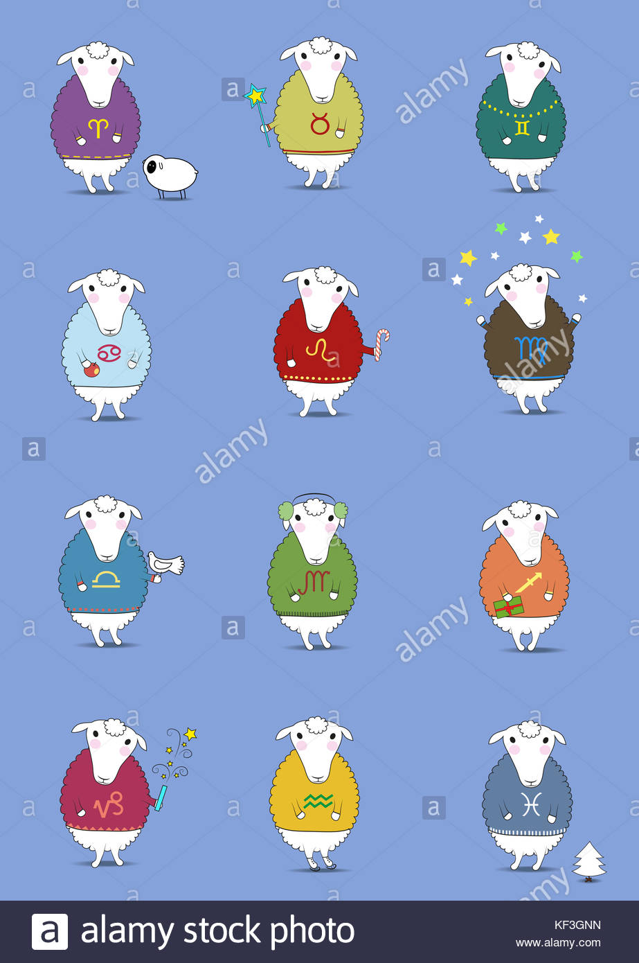 Satz von Weihnachten Schafe. lustig Horoskop. Farbenfrohe Pullover ...