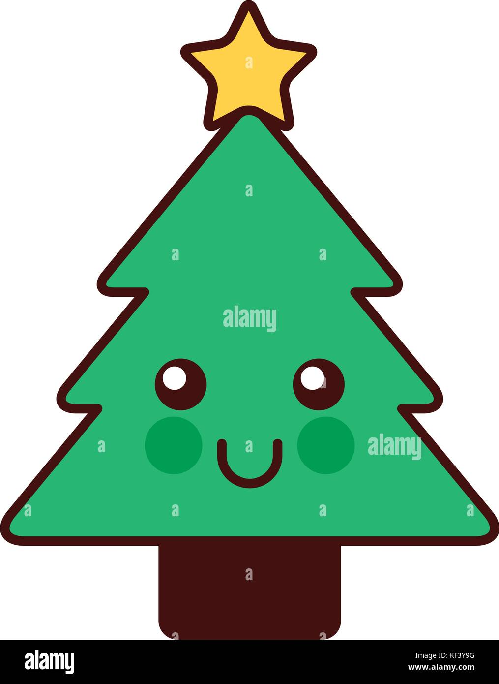 Weihnachtsbaum Comic.Kawaii Weihnachtsbaum Kiefer Dekoration Cartoon Vektor Abbildung
