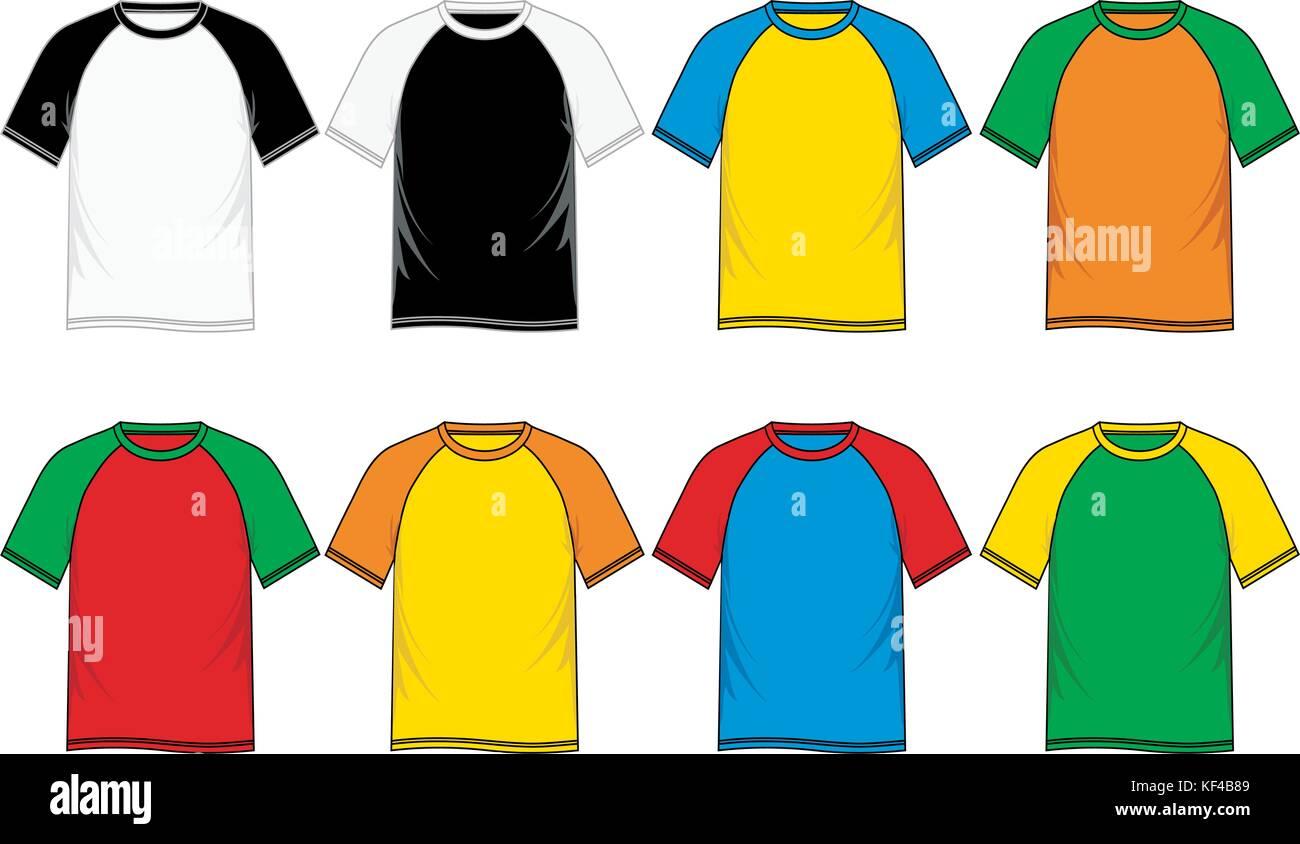 T shirt Vorlagen Short Sleeve Raglan, Männer Mode, Vektor Bild ...