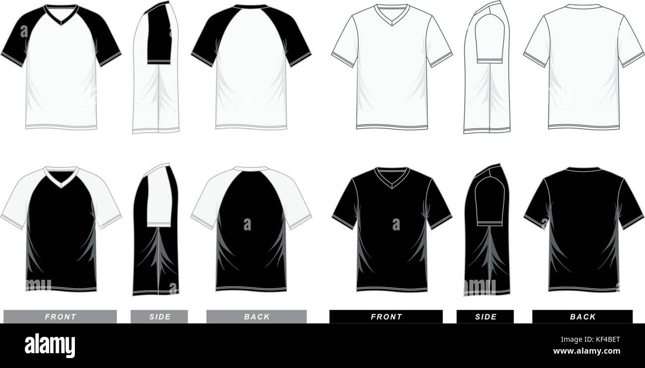 T-Shirt mit V-Ausschnitt, kurzen Ärmeln raglan Vorlagen bunt, Männer ...