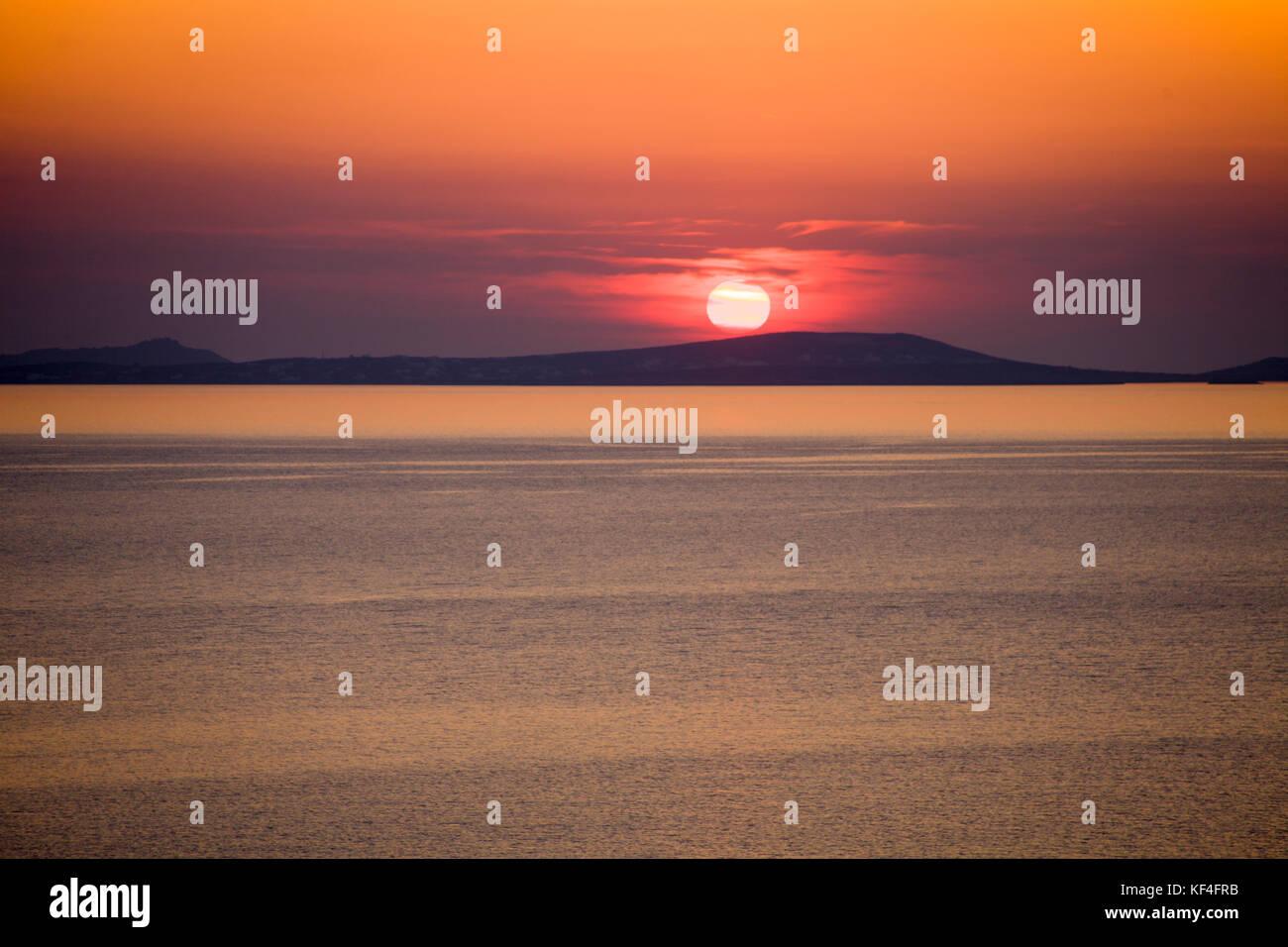 Sonnenuntergang an der Ägäis, Naxos, Kykladen, Ägäis, Griechenland Stockbild