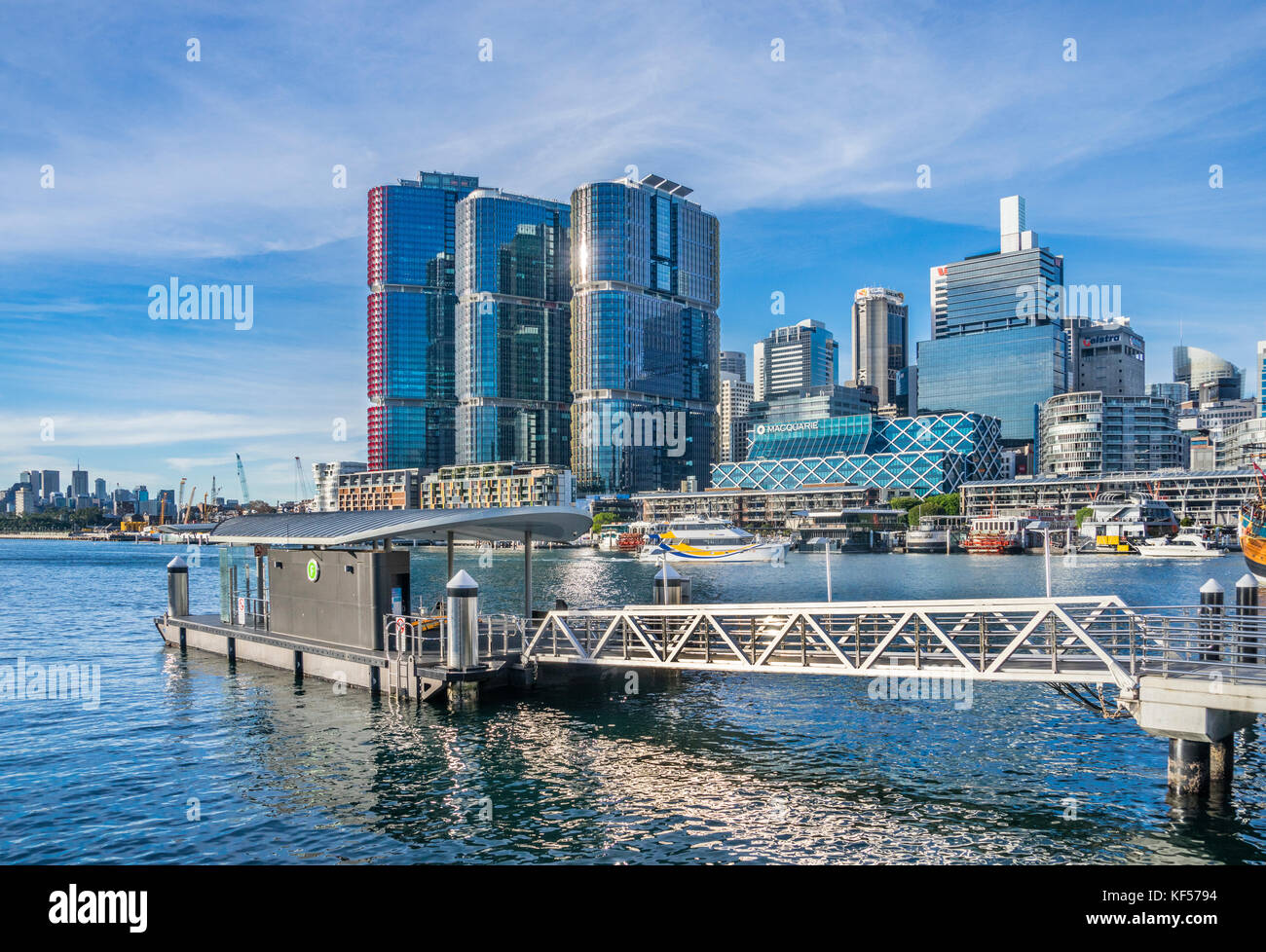 Australien, New South Wales, Sydney, Ausblick auf den Darling Harbour und die barangaroo International Towers von Stockbild