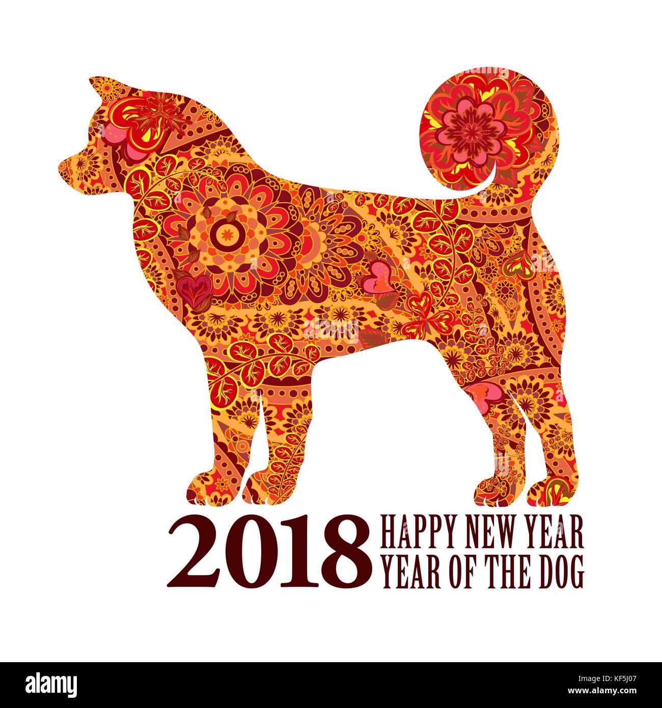 Hund. Symbol für das Jahr 2018 chinesisches Neujahr. Design für ...