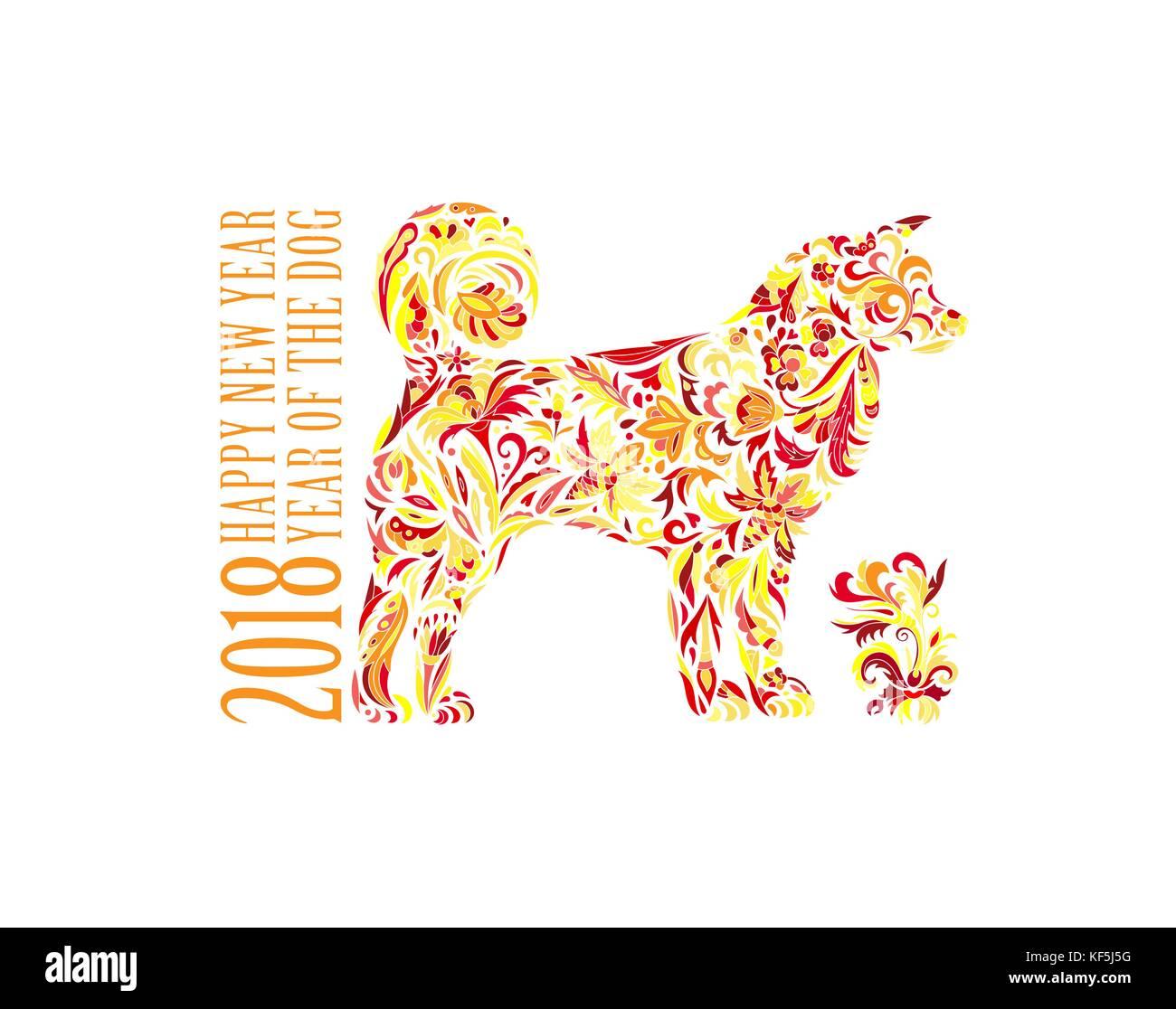 Hund, Symbol der 2018 auf dem chinesischen Kalender. Frohes neues ...