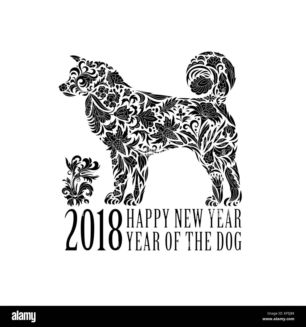2018. gruß Chinese New Year Karte mit stilisierten Hund. eine Farbe ...