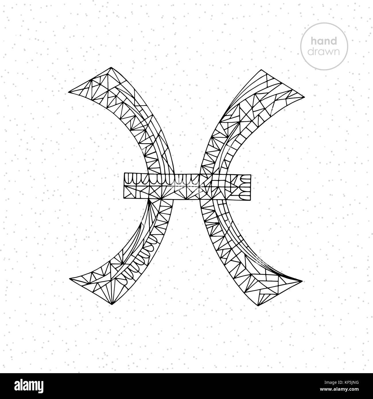 Fische Sternzeichen Sammlung. Vektor Hand gezeichnet Horoskop Serie ...