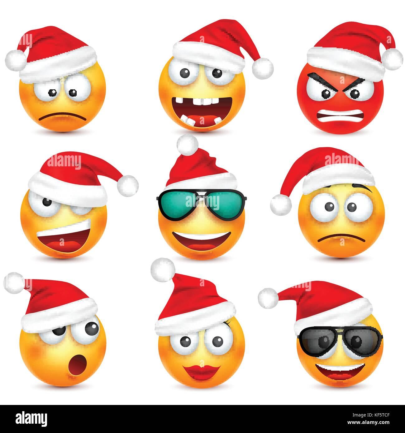 Smileys, Emoticons. gelbes Gesicht mit Emotionen und Weihnachten hat ...