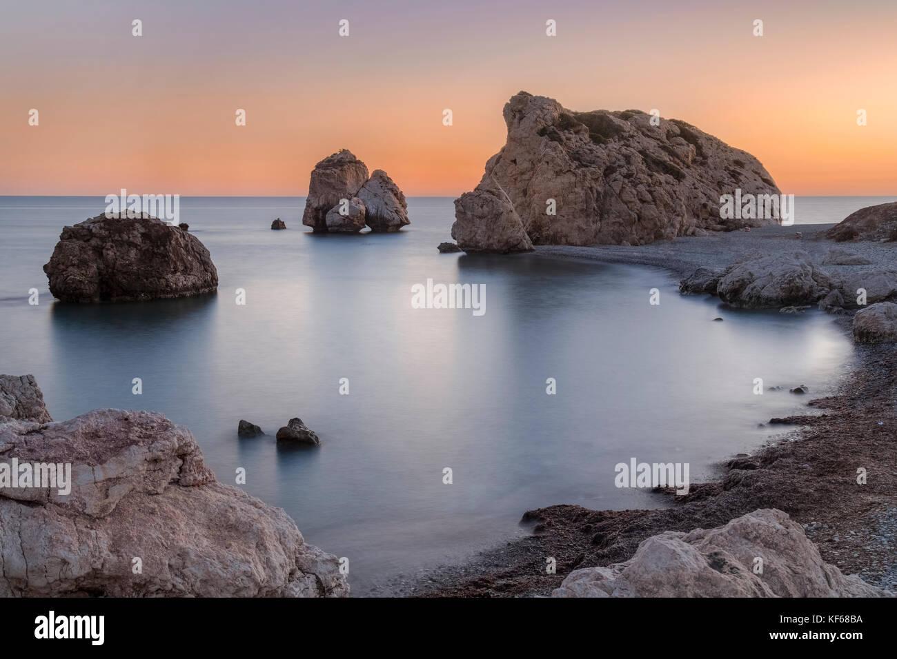 Petra tou romiou, den Felsen der Aphrodite, Paphos, Zypern Stockbild