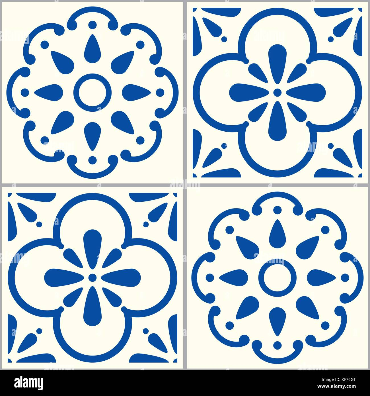 azulejos portugiesische vektor fliesen muster lissabon nahtlose indigo blue tile design gesetzt. Black Bedroom Furniture Sets. Home Design Ideas