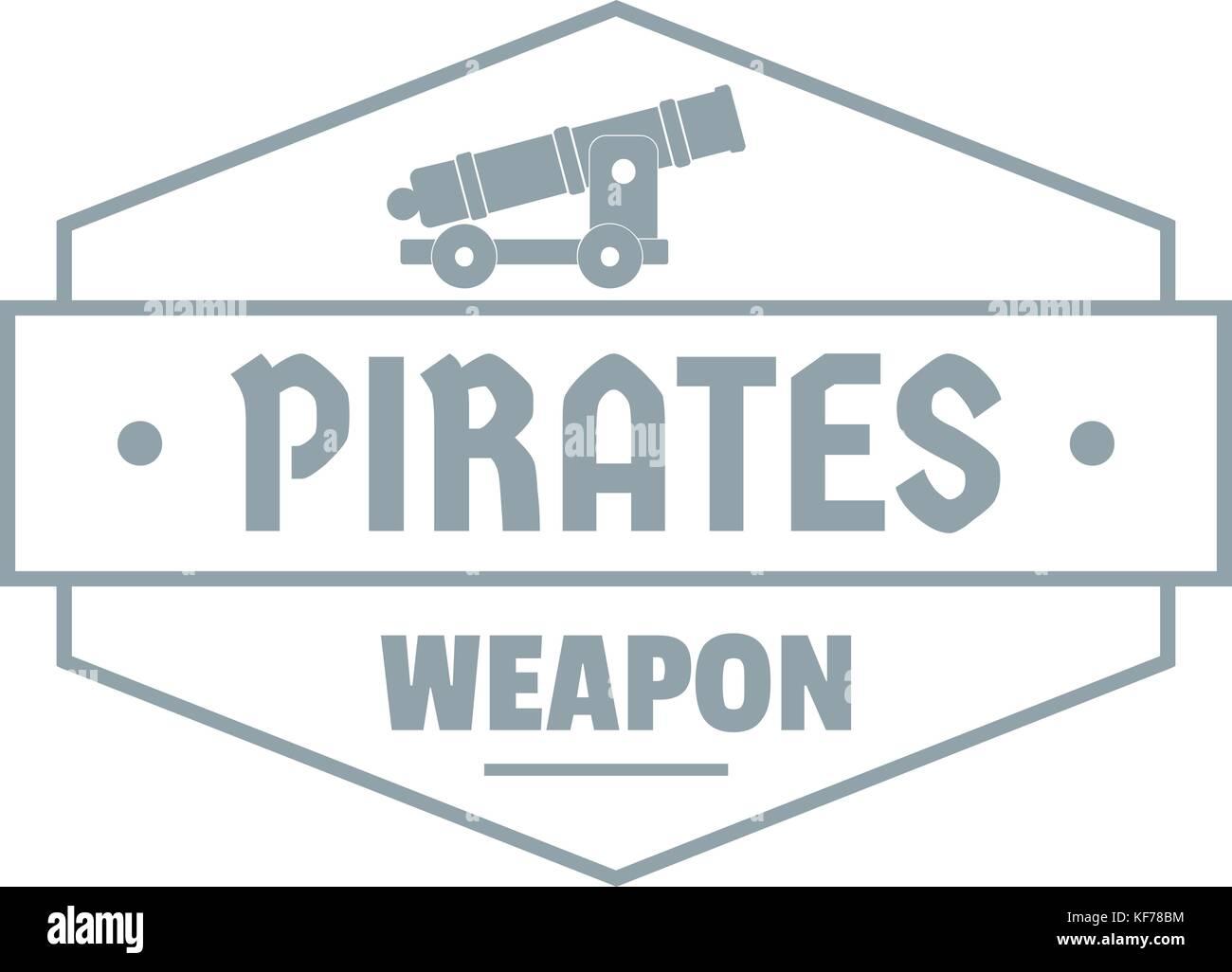 Piraten Kanone logo, einfachen grauen Stil Stockbild