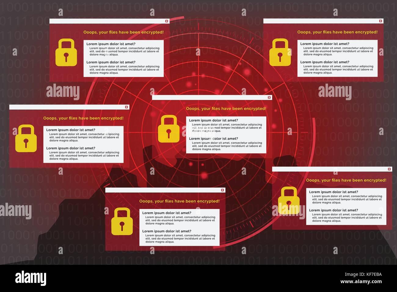 Abbildung: radar Erkennung auf malware virus Computer im Hintergrund Daten verschlüsseln der binäre Code. Stockbild