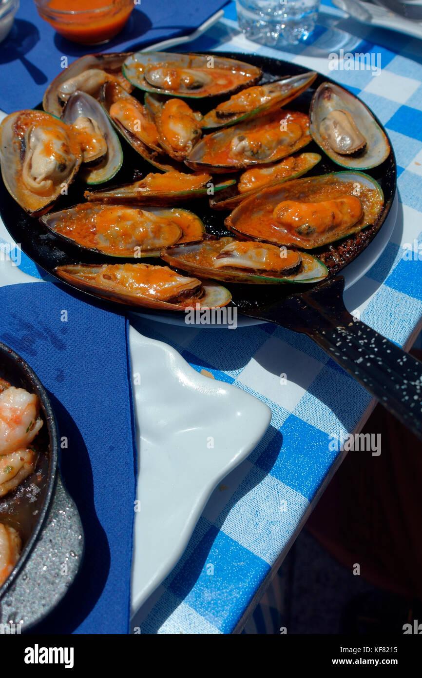 Gekochte Miesmuscheln in einer heißen Pfanne auf einem blau karierte Tischdecke im Dorf El Cotillo, Fuerteventura Stockbild