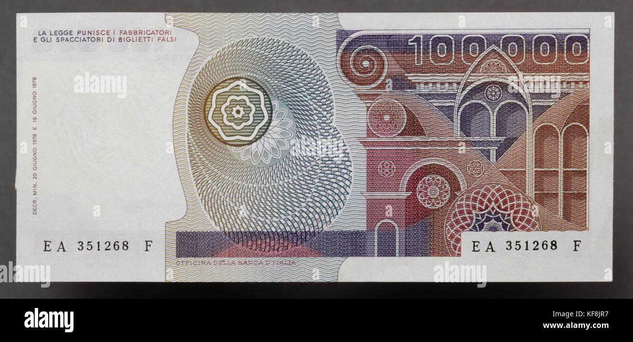 100000 lire Banknote, 1978-1984, Italien, 20. Stockbild