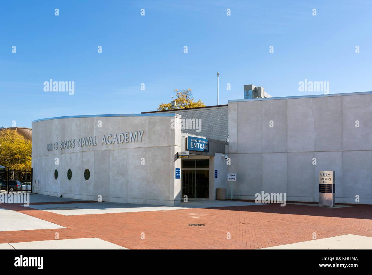 Eingang an der United States Naval Academy, Annapolis, Maryland, USA Stockbild